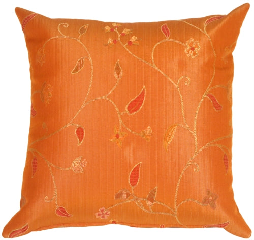 Random Flowers in Cinnamon Orange Accent Pillow