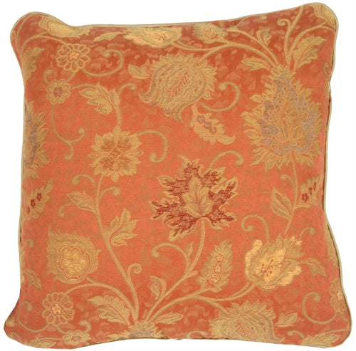 Floral Luxury with Piping in Rose Rust Accent Pillow