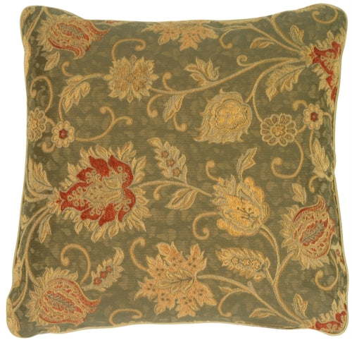 Floral Luxury with Piping in Deep Green Accent Pillow