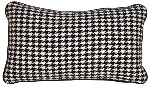 Hounds tooth Rectangle in Black and Cream Accent Pillow
