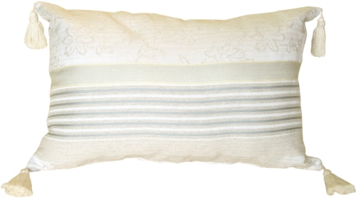 Floral and Soft Blue Stripes Rectangular Accent Pillow