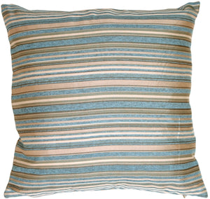 "Turquoise Chenille Stripes 19"" Square Decorative Pillow"