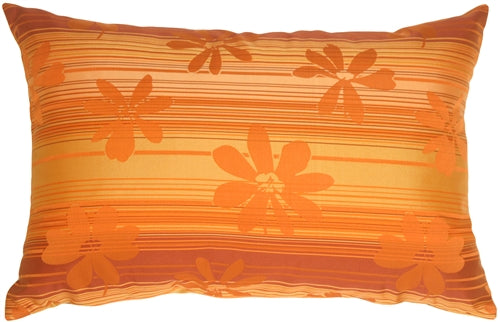 Orange Floral on Stripes Rectangular Decorative Pillow