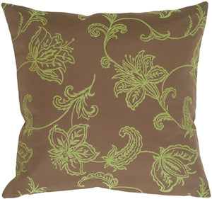 Lime Floral on Charcoal Brown Decorative Pillow