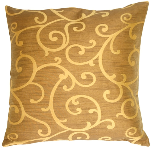 Gold Scroll Decorative Pillow