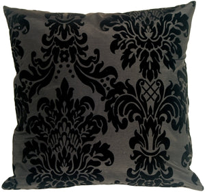 Flocked Velvet Damask Black Throw Pillow