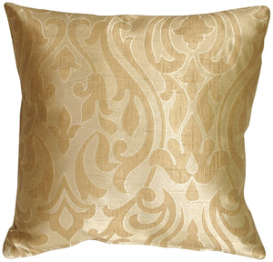 French Scroll in Caramel Cream Decorative Pillow