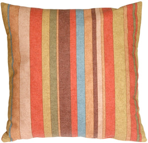 Rustic Multicolor Stripes Square Throw Pillow