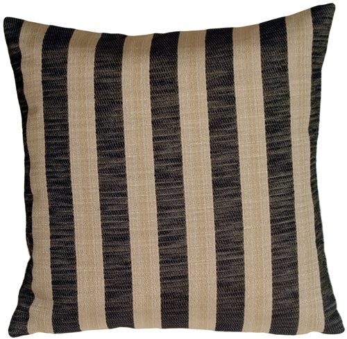 Classic Stripes in Charcoal and Beige Square Accent Pillow