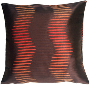 Sunset Waves Espresso Brown Square Toss Pillow
