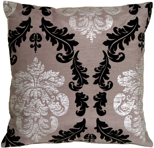 French Damask Gray Decorative Toss Pillow