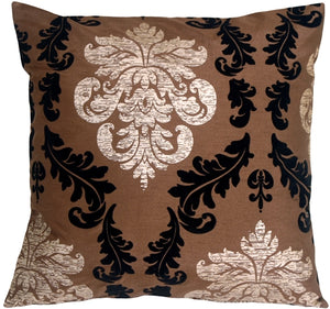 French Damask Brown Decorative Toss Pillow
