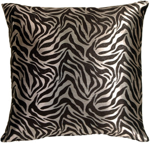 Metallic Zebra Silver and Black Throw Pillow