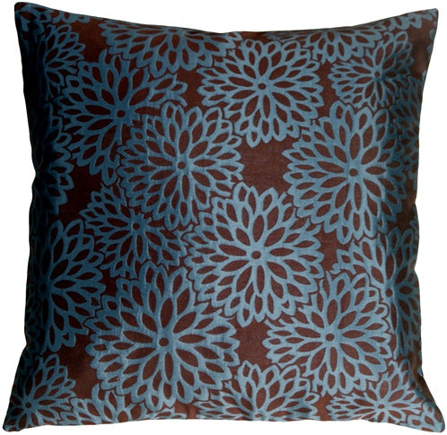 Floral Bloom in Teal Blue and Espresso Brown Throw Pillow