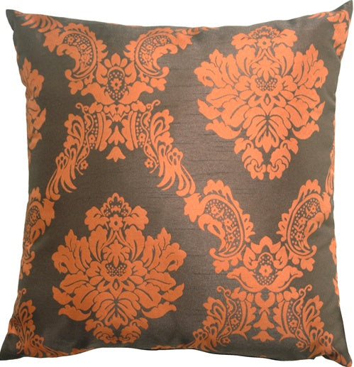 Contemporary Damask in Orange and Brown Throw Pillow