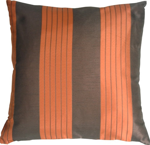 Contemporary Stripes in Orange and Brown Throw Pillow