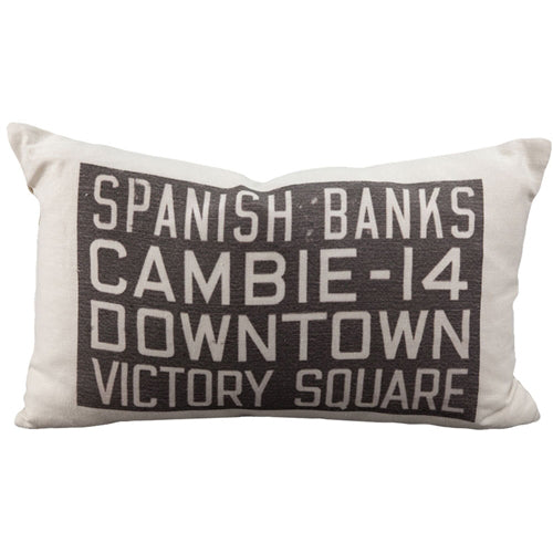 Spanish Banks Bus Scroll Throw Pillow