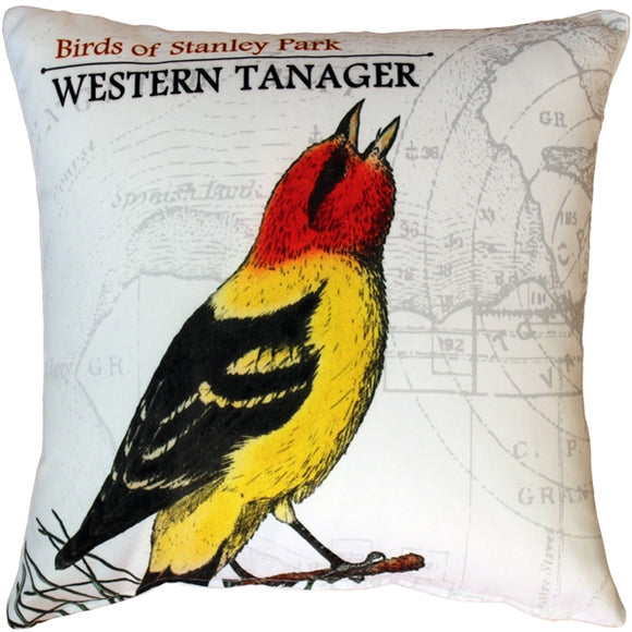 Western Tanager Bird Pillow 18X18