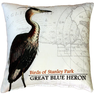 Great Blue Heron Bird Pillow 18X18