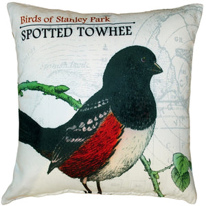 Spotted Towhee Bird Pillow 18X18