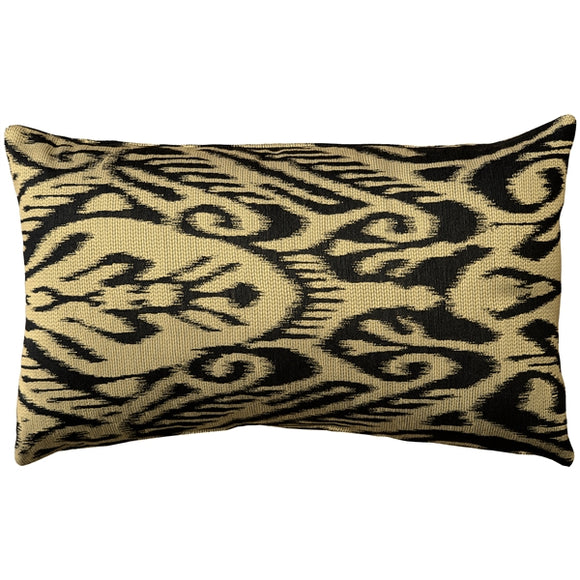 Mallorca Carbon Ikat Throw Pillow 12x20