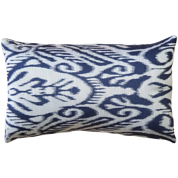 Mallorca Bluefin Ikat Throw Pillow 12x20