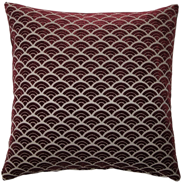 Seigaiha Scallop Textured Velvet Burgundy Throw Pillow 19x19