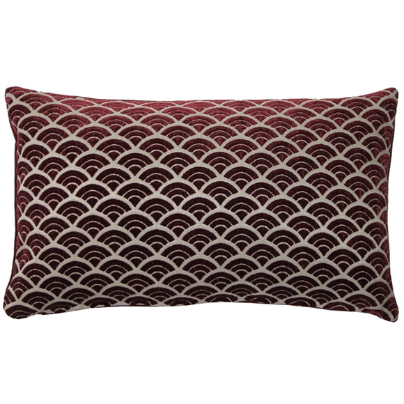 Seigaiha Scallop Textured Velvet Burgundy Throw Pillow 12x19