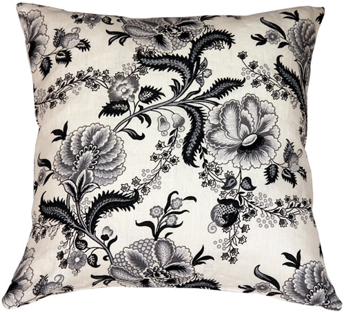 Tuscany Linen Floral Print 20x20 Throw Pillow