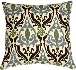 Linen Damask Print Blue Brown 18x18 Throw Pillow