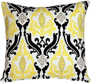 Linen Damask Print Yellow Black 16x16 Throw Pillow