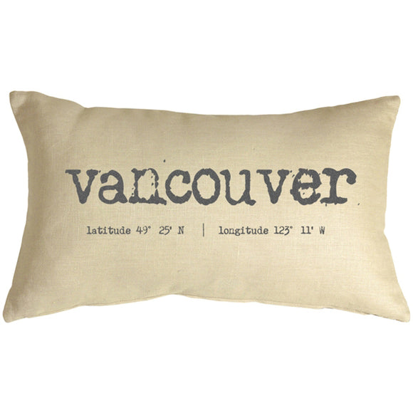 Vancouver Coordinates 12x20 Throw Pillow