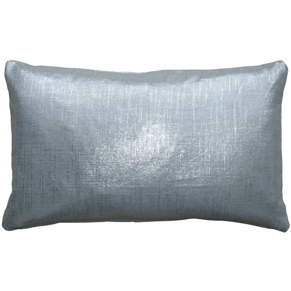Tuscany Linen Metallic Silver 12x20 Lumbar Throw Pillow