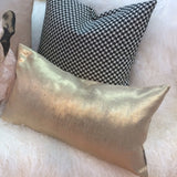 Tuscany Linen Metallic Gold 12x20 Lumbar Throw Pillow