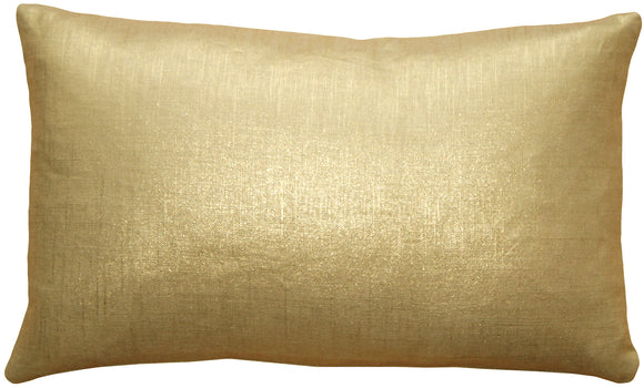 Tuscany Linen Gold Metallic 12x20 Throw Pillow