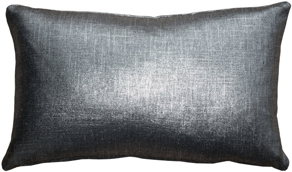 Tuscany Linen Metallic Platinum 12x20 Throw Pillow