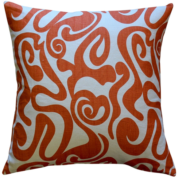 Tuscany Linen Swirl Orange Throw Pillow 20x20