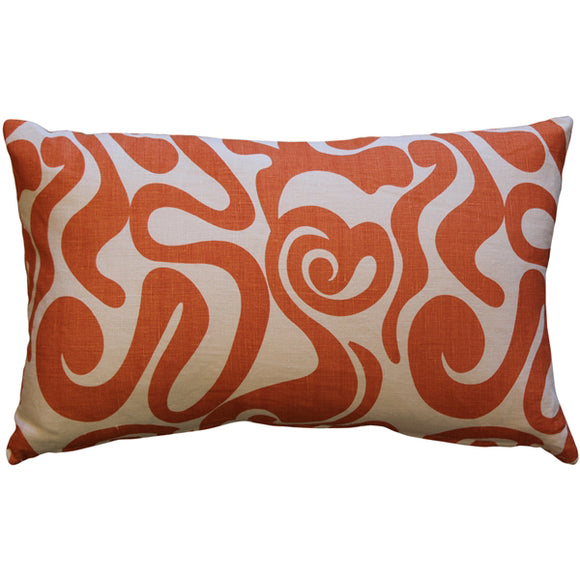 Tuscany Linen Swirl Orange Throw Pillow 12x20