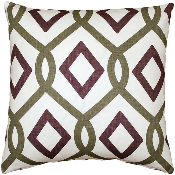Tuscany Linen Sage Diamond Chain Throw Pillow 18X18