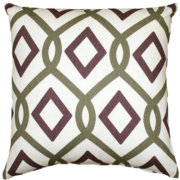 Tuscany Linen Sage Diamond Chain Throw Pillow 20X20