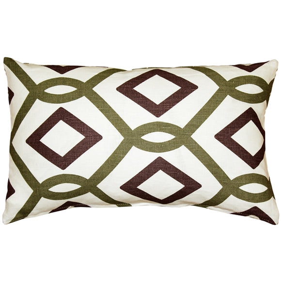 Tuscany Linen Sage Diamond Chain Throw Pillow 12X20