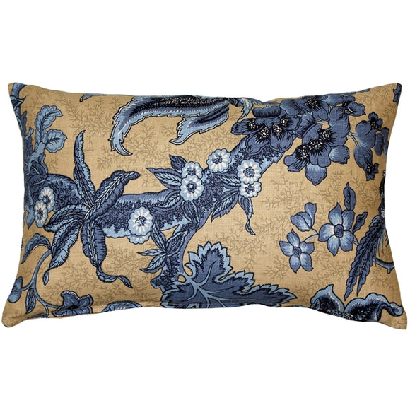 Tuscany Linen Brewood Blue Throw Pillow 12X20
