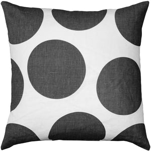 Tuscany Linen Gray Circles Throw Pillow 22x22