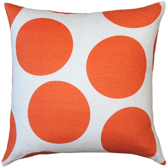 Tuscany Linen Orange Circles Throw Pillow 22x22