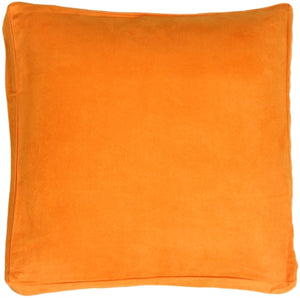 "16""x16"" Box Edge Royal Suede Orange Throw Pillow"