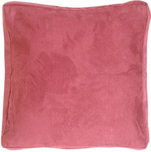 16x16 Box Edge Royal Suede Pink Throw Pillow
