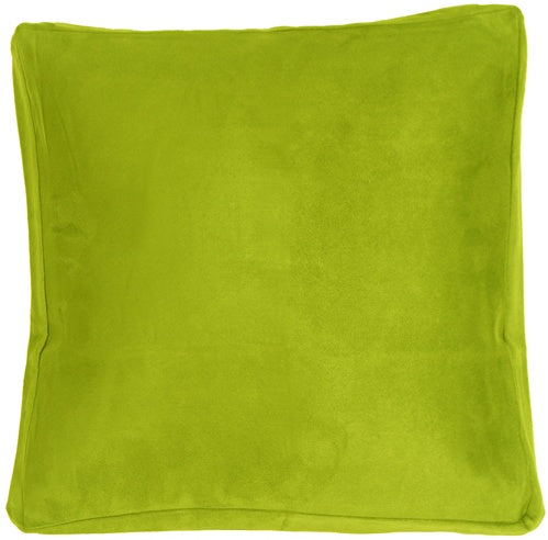 16x16 Box Edge Royal Suede Lime Green Throw Pillow