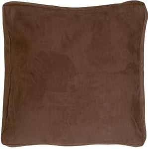 16x16 Box Edge Royal Suede Brown Throw Pillow