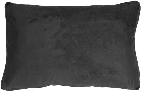 14x22 Box Edge Royal Suede Black Throw Pillow