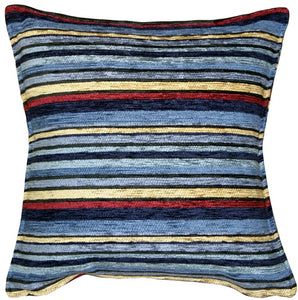 Carnival Stripes Blue 17x17 Throw Pillow